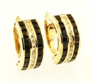 Zafiro-De-oro-Amarillo-de-9-Quilates-Y-Diamante-Aretes-trasera-Omega-7mm-de-ancho
