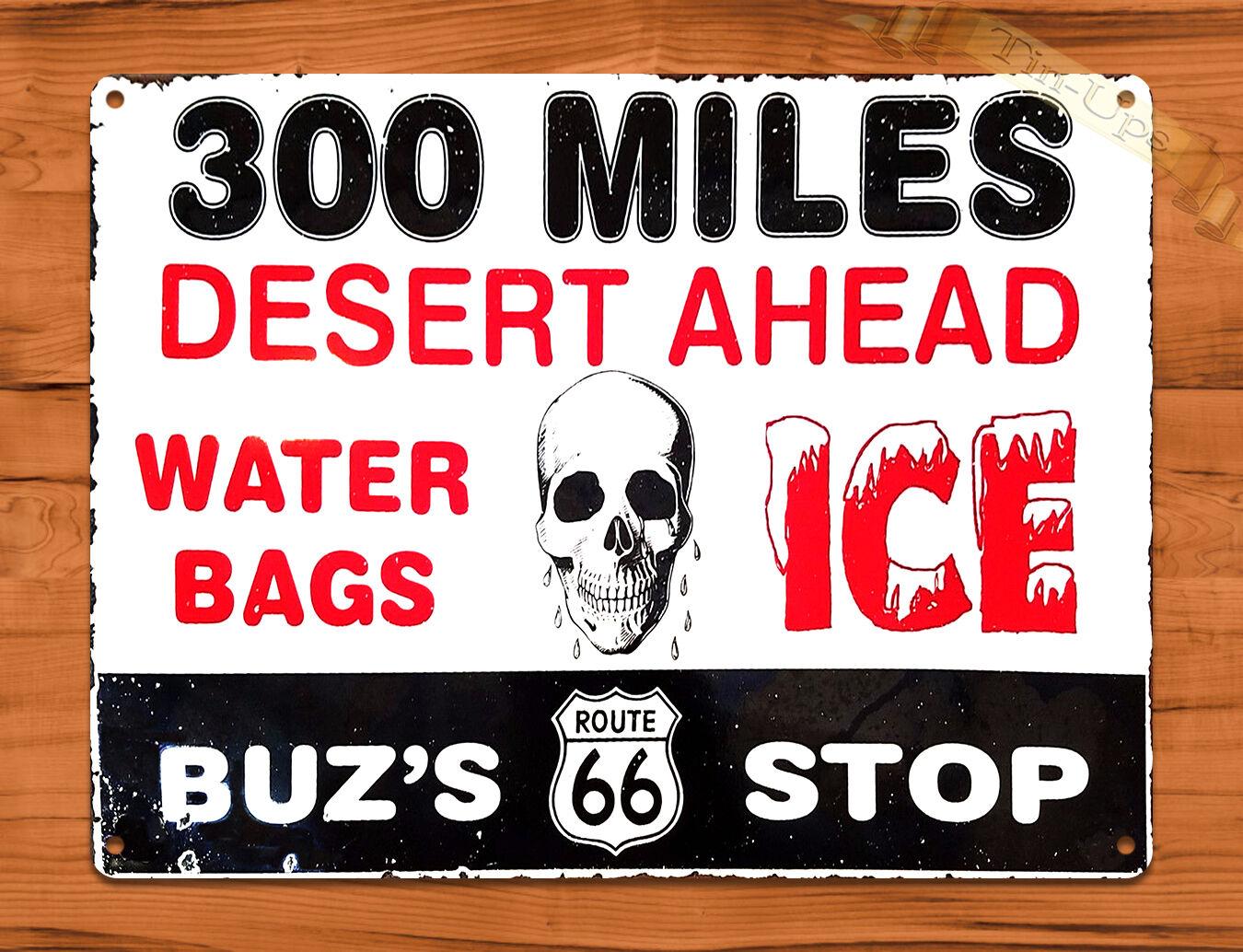 Tin Ups Tin Sign Desert Ahead Skull Route 66 Gas Station Retro Art