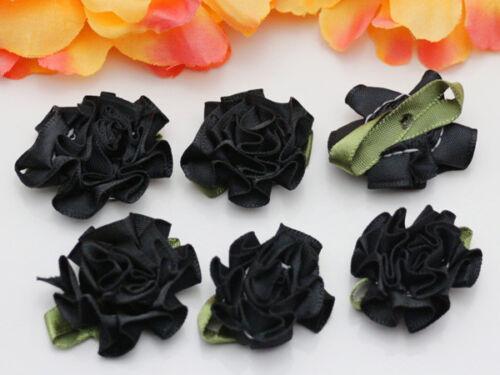 Neuf 100pcs Ruban Satin Oeillet Fleur Appliques//CRAFT//mariage décoration À faire soi-même