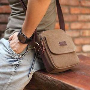 a1b2c0e4e8fd Coffee Men s Vintage Canvas Bag Small Messenger Shoulder Bag New ...