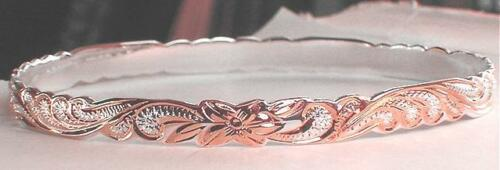 6 mm BM Silver Hawaiian 14K Rose Princesse Scrolls Bangle