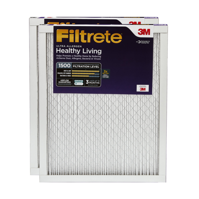 Healthy Living Ultra Allergen Filtrete 20x30x1 2-Pack MPR 1500 AC Furnace Air Filter