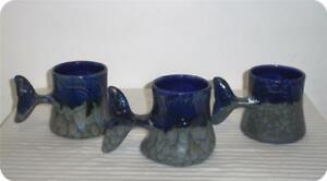 3 Doug Wylie Whale Tail Coffee Mug Art Pottery Ceramic Blue & Green Drip Glaze