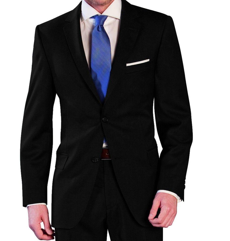Herren Anzug aus reiner Schurwolle in Schwarz, Marke Lanificio Tessuti Italia (4