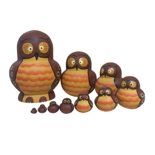 10pcs Wooden Wavy Owl Russian Nesting Dolls Matryoshka Christmas Gifts