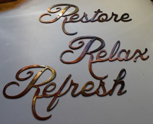 Relax Refresh Restore Words Metal Wall Art Accents