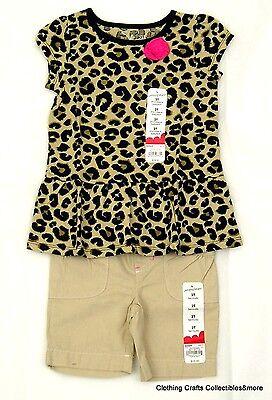 Girls Summer Outfit 2T Babydoll Top Shorts Bermuda Cheetah Print Khaki NWT