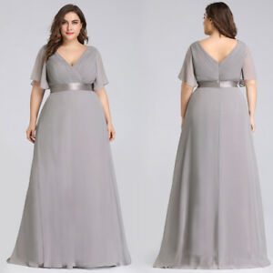 Ever-Pretty US Plus Size Long V-neck Mother Of Bride Prom ...