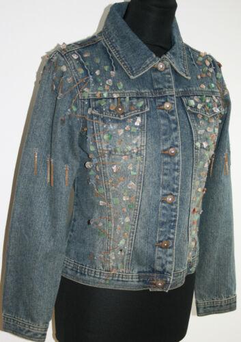 New Paris kæder Jean Denim Krystaller perler jade Uk12 14 sten Daisy Jacket Blue rR5Srw