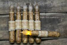 """Set of 6 - LED Burnt Ivory 6"""" - 6.5"""" Battery Operated TIMER Taper Candles"""