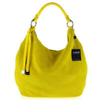 Arcadia Italian Made Yellow Suede Large Slouchy Carryall Designer Hobo Bag