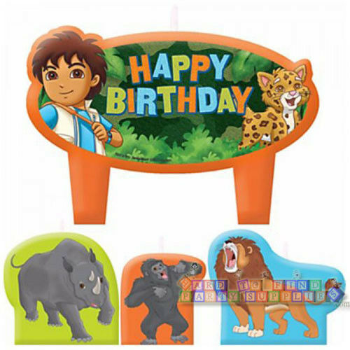 4pc GO DIEGO GO MINI CANDLE SET ~ Birthday Party Supplies Cake Decorations