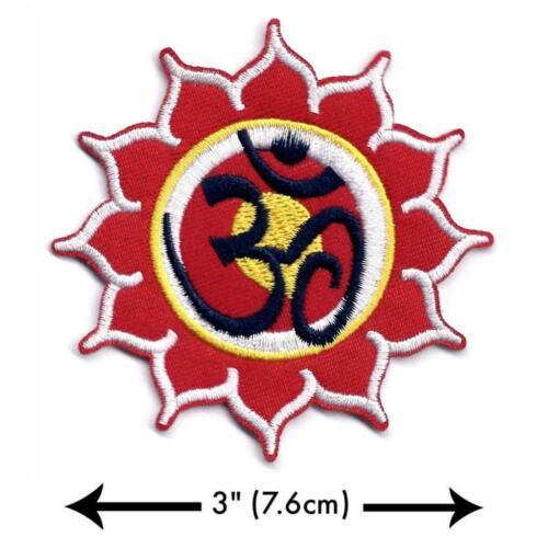 "Ohm Lotus Termoadhesivo Parche 3/"" Yin Yang Aum Om Hippie Yoga Hindú Paz Bordado"
