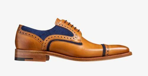 Handgefertigte zweifarbige blaue Wildleder und Tan Lederbrogue-Schuhe für Herren