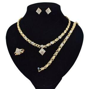 9-HUGS-amp-KISSES-Necklace-With-Bracelet-18-034-Xo-Earrings-Ring-size-9-18k-GF