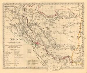 Details about PERSIA (IRAN)   With part of the Ottoman Empire  Iraq  SDUK  1846 old map