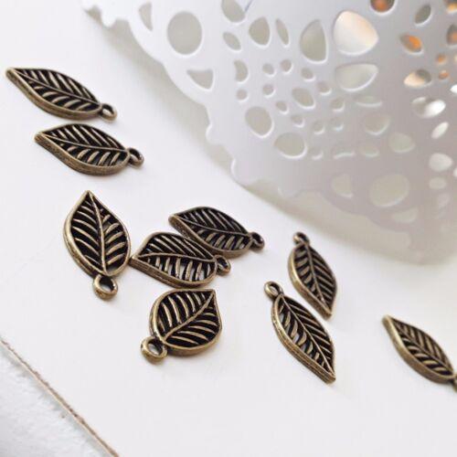 pequeña ~ 19x10mm bronce joyas vintage hojas colgante Nellys 10 unid