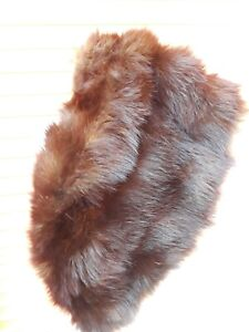 Vintage-1940-s-1950-s-Fox-Fur-Wrap-Stole-Jacket-Shrug-Coffee-Brown-Cape-Shawl-OS