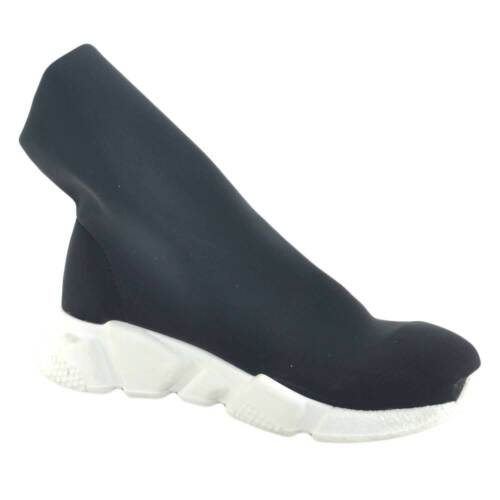 Moda Donna Tessuto Calzino Fondo Trendy Nero Bianco Alto Comod Anatomico Sneaker 8PnaWc8