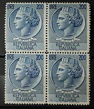 1954 Italia Siracusana Quartina  200 lire  azzurro  filigrana ruota   S. 748
