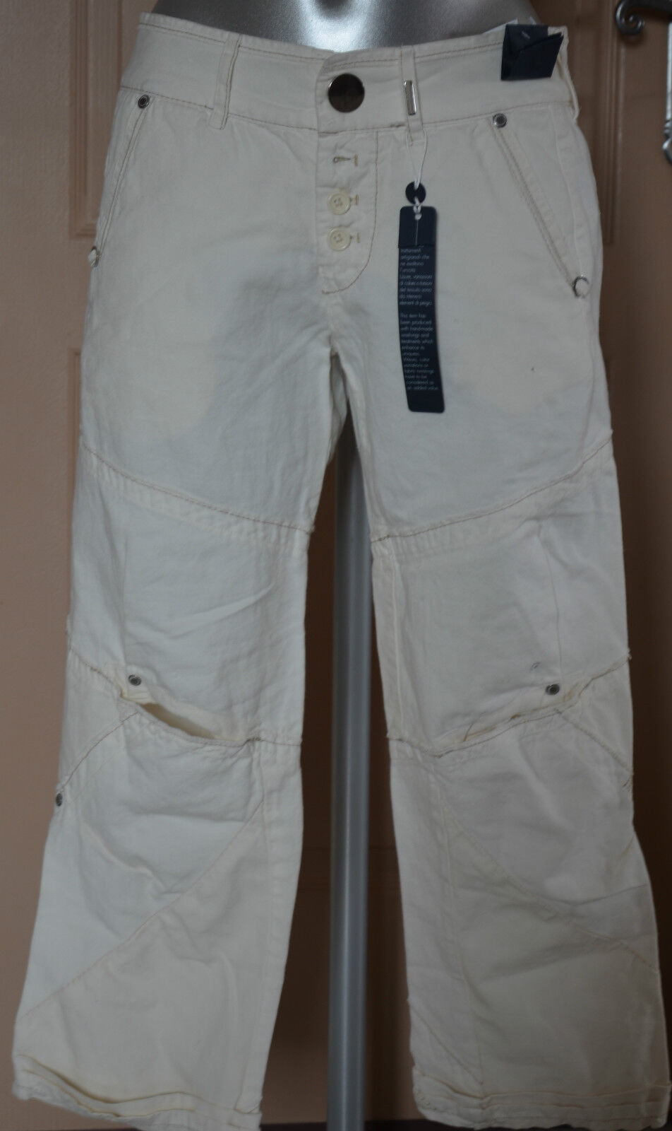 Very pretty trousers 3 4 woman white linen HIGH USE SIZE 38 model vigour