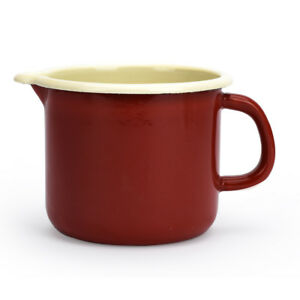Tasse émaillé 400ml Mug Cruche Pot Lait Boisson Maison Camping Voyage Rouge