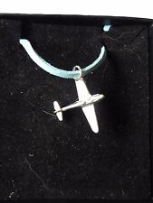 "Messerschmitt Bf 109 Aircraft c19 English Pewter On a 18"" Blue Cord Necklace"