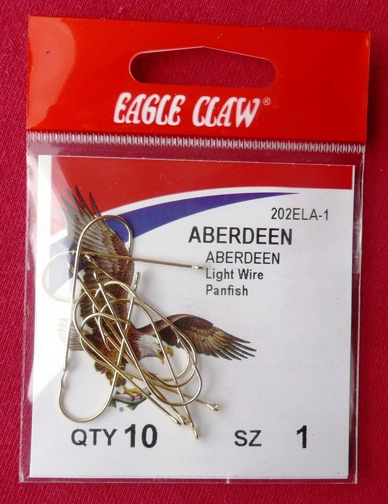 500 Hooks -- Eagle Claw Aberdeen Light Wire Panfish 202ELA-1 (50 x 10 hooks)