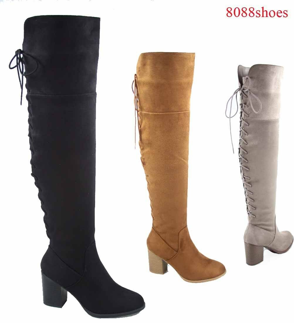 Women's Fashion Back Lace Up Chunky Heel Over The Knee Boots Shoes Size 5.5 - 11