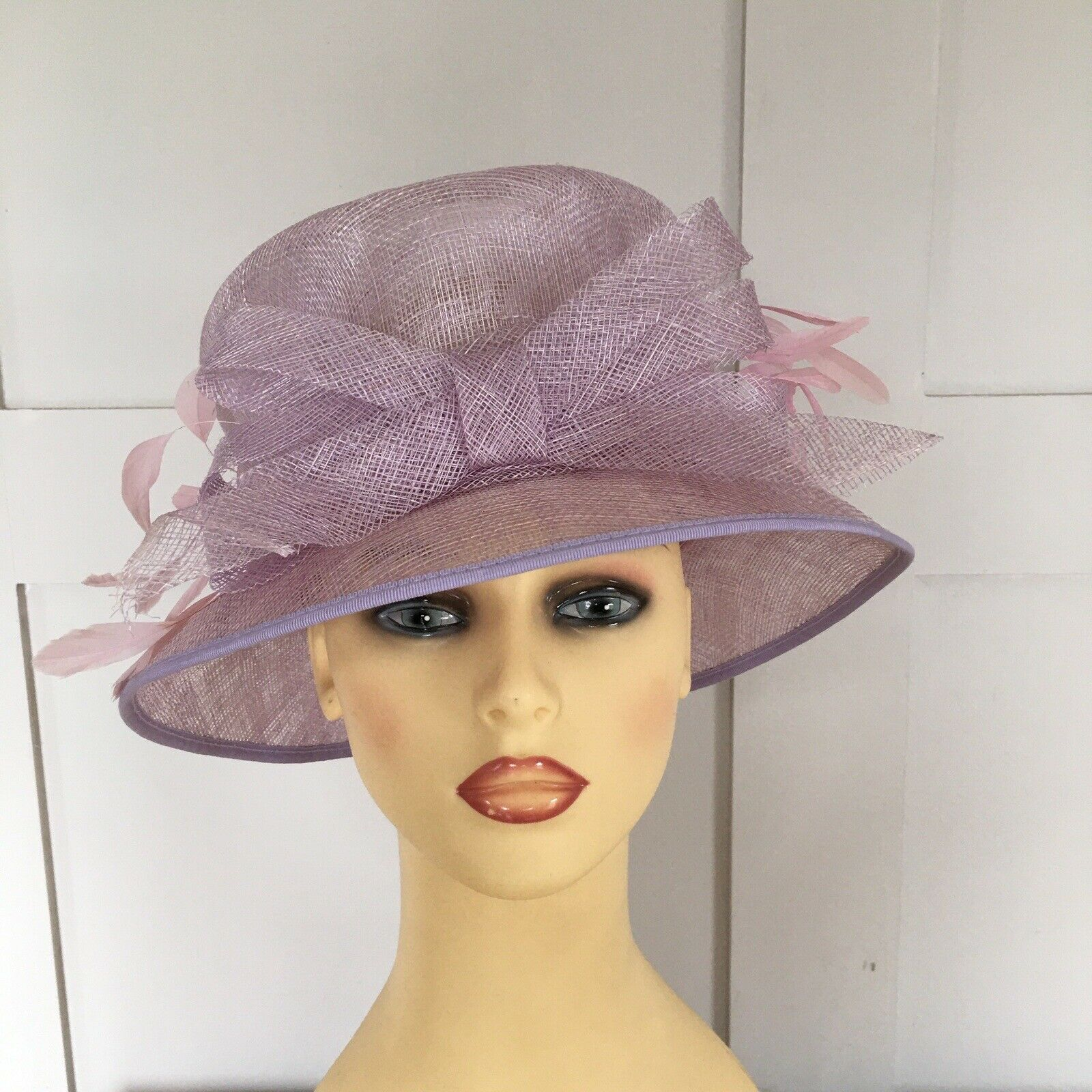 Wedding Hat Races Special Occasion Mauve & Pale Pink Feathers Bow Front