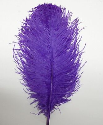 """2 PCs OSTRICH PLUMES 8/""""-18/"""" FEATHERS Top Quality COLOR BLACK for Hats//Bridal"""