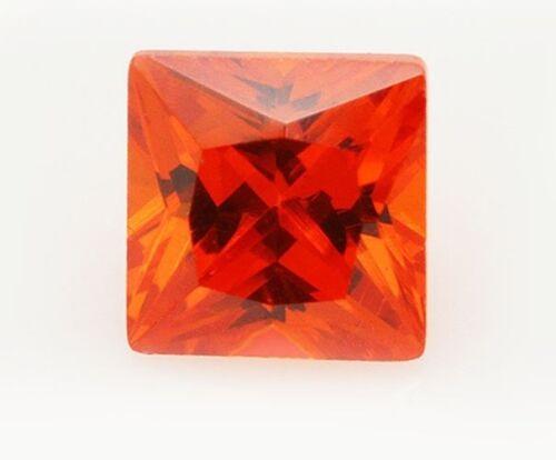 Un par de 5mm Cuadrado-faceta Princesa Corte Profundo-Naranja Cubic Zirconia Piedras Preciosas