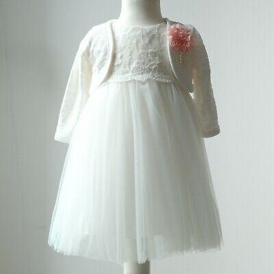Bolero Festkleid Babykleid Tüll Blumenmädche Gr 62-98 Taufkleid 2tlg