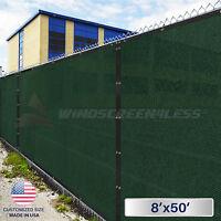 8'x50' Privacy Fence Screen Green/black Cover Mesh Windscreen Fabric Yard Garden