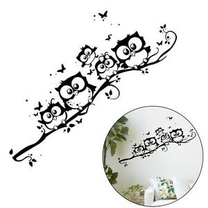 Owl-Tree-Wall-Deco-Vinyl-Sticker-Decal-Decor-Removable-Nursery-Art-Girl-Mural-GA