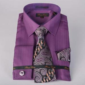 f6d35529d3 Men's Bruno Conte Purple Herringbone Stripe Dress Shirt,Tie,Hanky ...