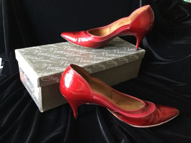 Vintage Women's Red Patent Leather Shoes 1950'-60's Sz 7 Naturalizer