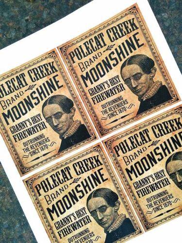 Vintage Style Moonshine Label Sticker Sheet Set of 4 Large Labels