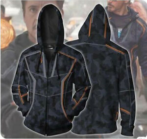 Details about Iron Man Toni Hoodie Infinity War Coat Zipper Sweater Cosplay  Costume 3D Print