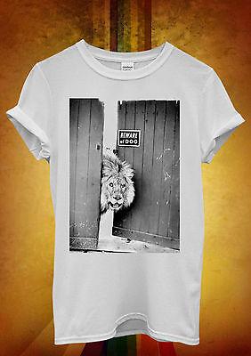 Beware Of The Dog Animal Lion Wild Men Women Unisex T Shirt Tank Top Vest 793