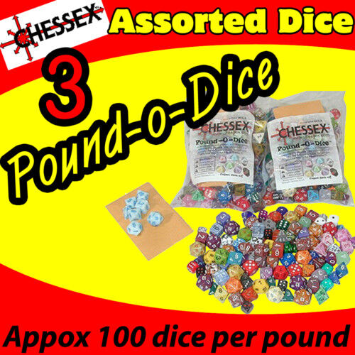 3  POUND O DICE BAG OF CHESSEX GAME ASSORTED AD&D NEW CHX001-3