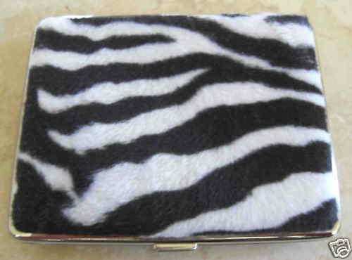 ! oferta! Zebra Print Faux Fur I.D. tarjeta de visita, dinero en efectivo, tarjeta de crédito Estuche Nuevo