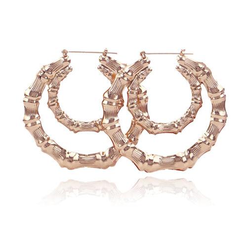 Women Gold Tone Bamboo Punk Big Hoop Large Circle Earrings Hiphop Jewellery Gift