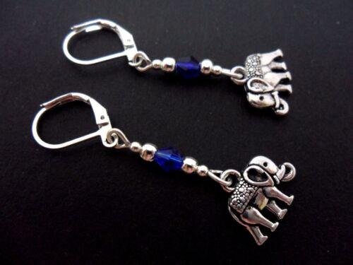 A PAIR TIBETAN SILVER DANGLY ELEPHANT /& BLUE CRYSTAL LEVERBACK HOOK  EARRINGS.