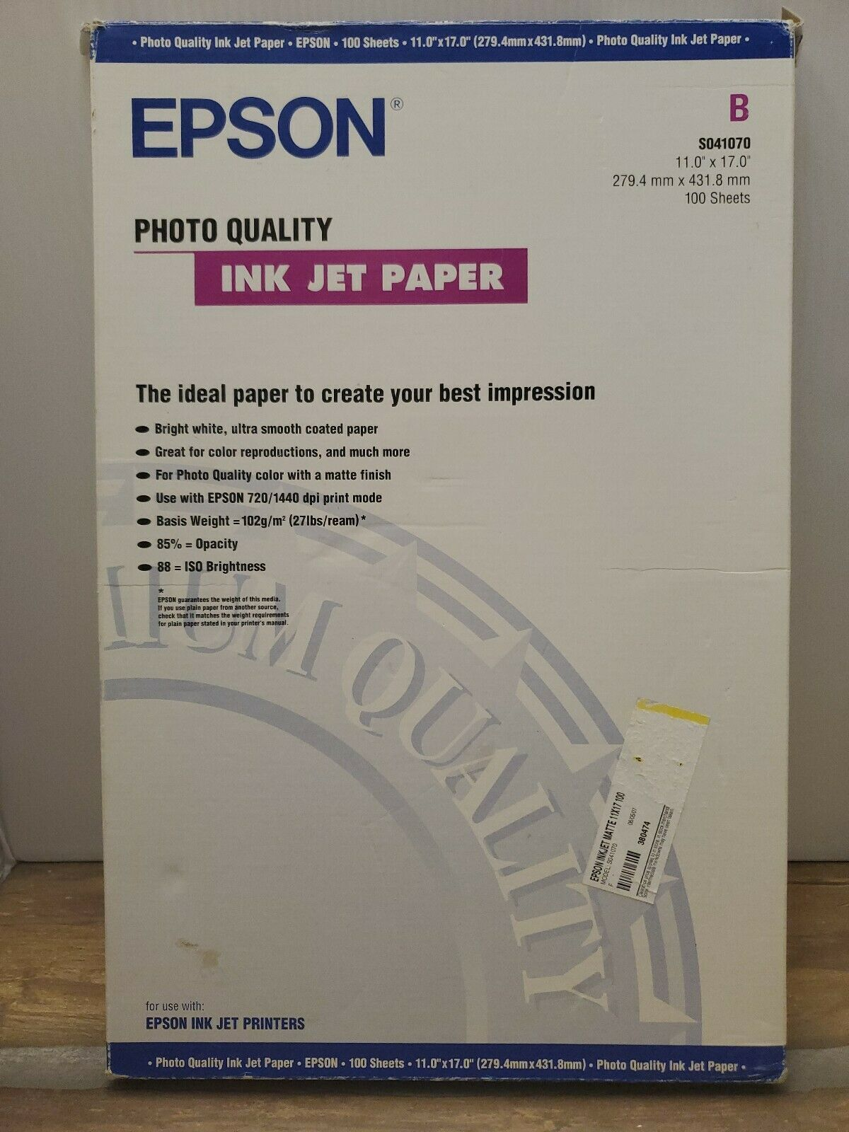 Paper Office Products Epson Matte Presentation Paper 27 lbs 11 x ...