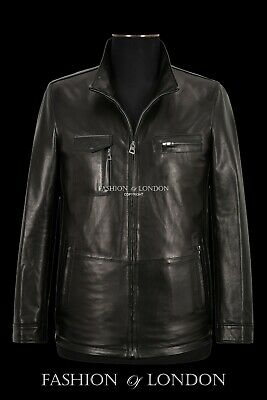 RACER Mens Leather Jacket Semi Veg Tanned Cherry Casual Italian Lambskin Top A26