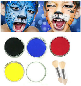Childrens Face Paint Set White Red Yellow Blue Black Kids Painting