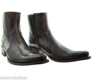 Sendra 5200 Cowboy Boots Brown Shiny Leather Western Biker ...