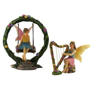 Fairy-Garden-Accessories-Fairies-Kit-with-2-Fairies-amp-Swing-Set-by-Pretmanns