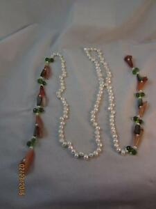 CHIC LARIAT OPEN KNOTTED PEARL NECKLACE W/ AGATE LILIES MOP & CRYSTAL ACCENTS